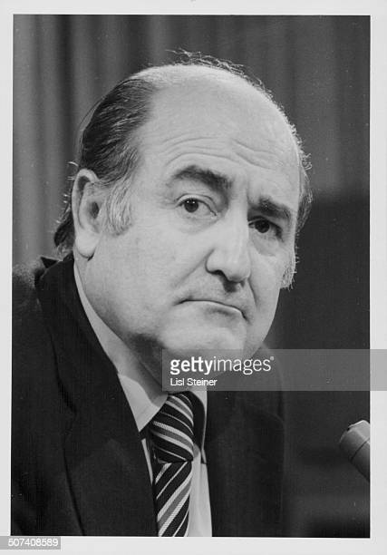 Alejandro Orfila Secretary General of the Organization of American States at a press conference at the UN headquarters New York City May 18th 1977
