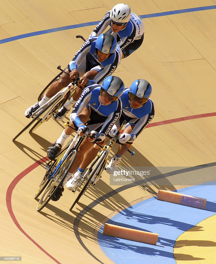 Alejandro Padilla, Julios Padilla, Romeo Quicibal and Manuel Rodas of Guatemala compete in 4000 meters Men's Team pursuit as part of the XVII Bolivarian Games Trujillo 2013 at Colegio San Jose Velodrome on November 18, 2013 in Lima, Peru.