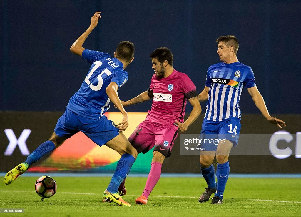 24 Alejandro Pozuelo midfielder of Krc Genk 15 Dino Peric 14 Luka Ivanuaec during UEFA Europa League play off round 1st Leg match between Lokomotiva...