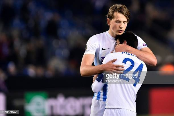 Alejandro Pozuelo midfielder of KRC Genk and Sander Boli Berge midfielder of KRC Genk show disappointment after the Europa League Quarter Finals 2nd...