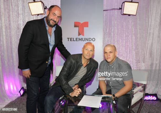 Alejandro Rincon Laurence Drillich and Juan Diego Medina are seen at Telemundo Studios where Nicky Jam announced that Telemundo would be airing Nicky...