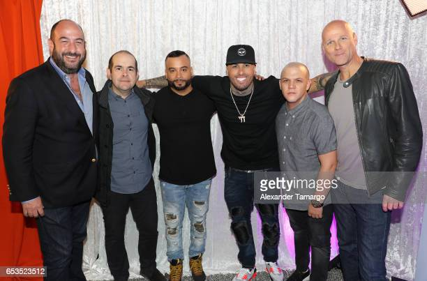 Alejandro Rincon Sergio Pizzilante Jessy Terrero Nicky Jam Juan Diego Medina and Laurence Drillich are seen at Telemundo Studios where Nicky Jam...