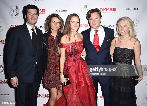 Alejandro Santo Domingo and Blood Ball Event Chair Charrlotte Santo Domingo pose with guests at the DKMS 2016 Blood Ball at Diamond Horseshoe on...