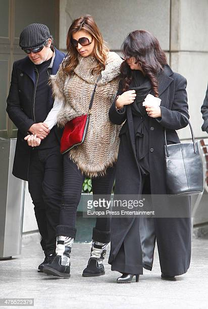 Alejandro Sanz and his wife Raquel Perera mourn the death of Paco de Lucia on February 28 2014 in Madrid Spain