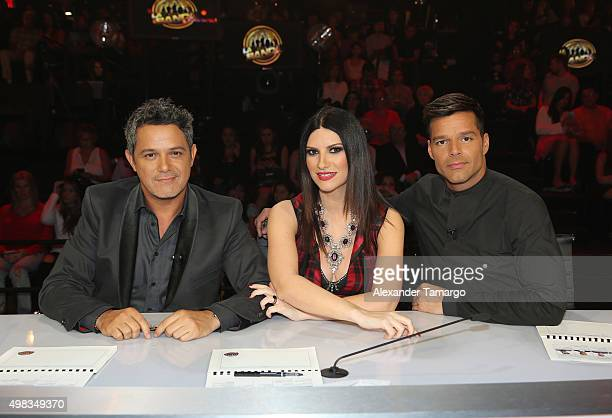 Alejandro Sanz Laura Pausini and Ricky Martin are seen on the set of the reality show 'La Banda' at Univision Studios on November 22 2015 in Miami...