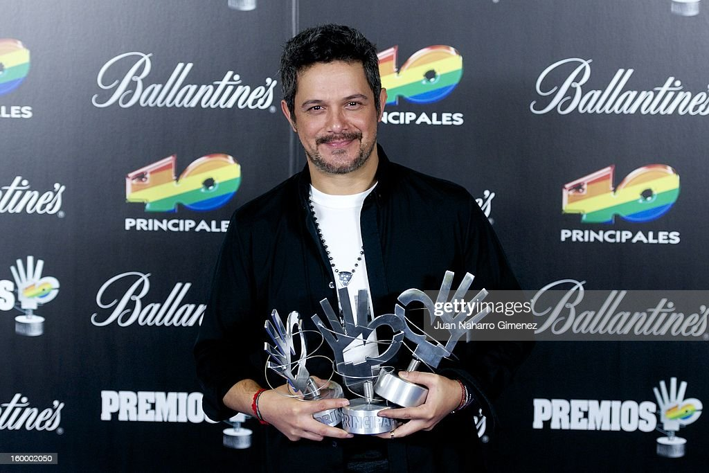 <a gi-track='captionPersonalityLinkClicked' href=/galleries/search?phrase=Alejandro+Sanz&family=editorial&specificpeople=208757 ng-click='$event.stopPropagation()'>Alejandro Sanz</a> poses in the press room during 40 Principales Awards 2012 at the Palacio de Deportes on January 24, 2013 in Madrid, Spain.