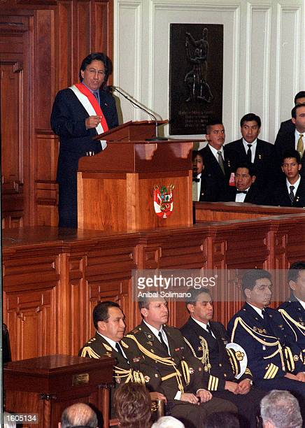 Alejandro Toledo addresses congress after being sworn in as president July 28 2001 in Lima Peru Toledo Peru''s first freely elected president of...
