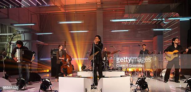 Alejandro Toledo and the Magic Tombolinos perform on stage during a recording of the 'Evo Music Rooms' for Channel 4 in association with Punto Evo at...