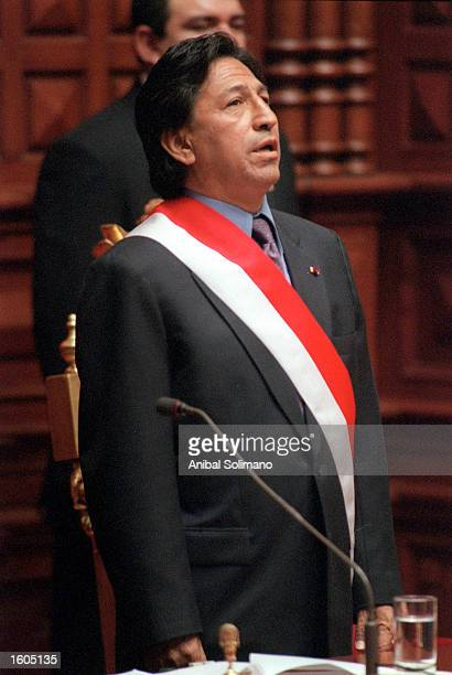 Alejandro Toledo sings the national anthem after being sworn in as president July 28 2001 in Lima Peru Toledo Peru''s first freely elected president...