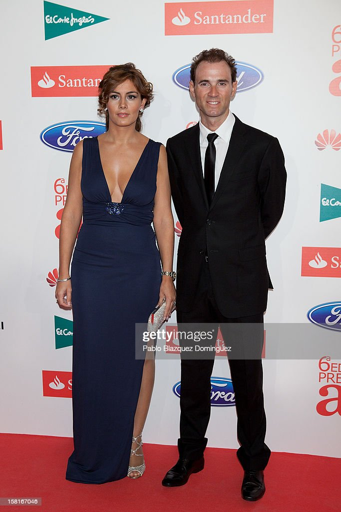 Alejandro Valverde (R) and wife Natalia Mateo (L) attend 'As Del Deporte' Awards 2012 at The Westin Palace Hotel on December 10, 2012 in Madrid, Spain.