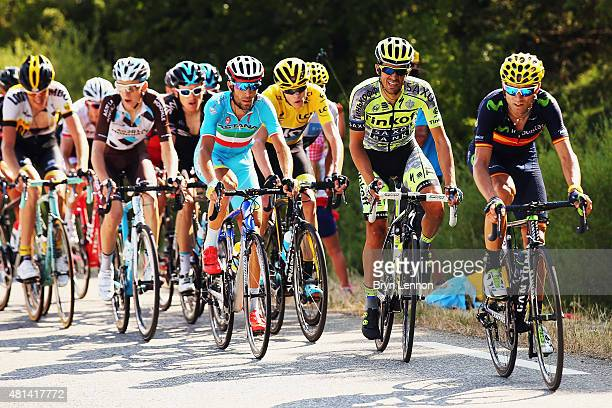 Alejandro Valverde Belmonte of Spain and Movistar Team Alberto Contador of Spain and TinkoffSaxo Chris Froome of Great Britain and Team Sky and...