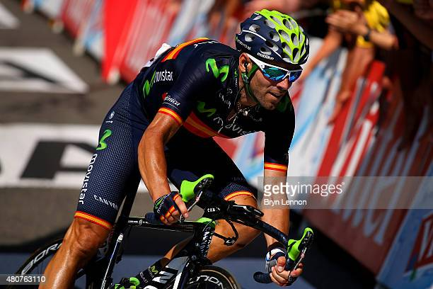 Alejandro Valverde Belmonte of Spain and Movistar Team crosses the finish line during stage eleven of the 2015 Tour de France a 188 km stage between...