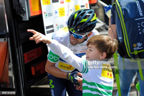 Alejandro Valverde of Movistar Team celebrating his victory with his son during the Tour cycling race La Volta a Catalunya on May 26 2017 in...
