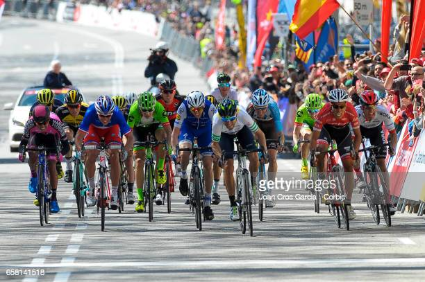 Alejandro Valverde of Movistar Team leads the last sprint during the last stage of Tour cycling race La Volta a Catalunya on May 26 2017 in Barcelona...