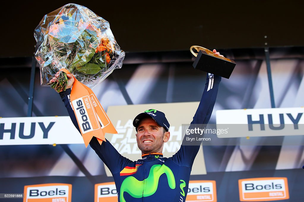<a gi-track='captionPersonalityLinkClicked' href=/galleries/search?phrase=Alejandro+Valverde&family=editorial&specificpeople=193419 ng-click='$event.stopPropagation()'>Alejandro Valverde</a> of Spain and Movistar celebrates with the trophy on the podium after winning the 80th La Fleche Wallonne, a 196 km race from Marche-en-Famenne to Huy, on April 20, 2016 in Huy, Belgium.