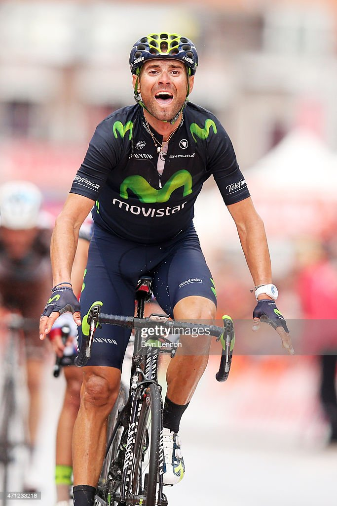 <a gi-track='captionPersonalityLinkClicked' href=/galleries/search?phrase=Alejandro+Valverde&family=editorial&specificpeople=193419 ng-click='$event.stopPropagation()'>Alejandro Valverde</a> of Spain and Movistar Team celebrates his victory as he crosses the finish line during the 101st Liege-Bastogne-Liege cycle road race on April 26, 2015 in Liege, Belgium.