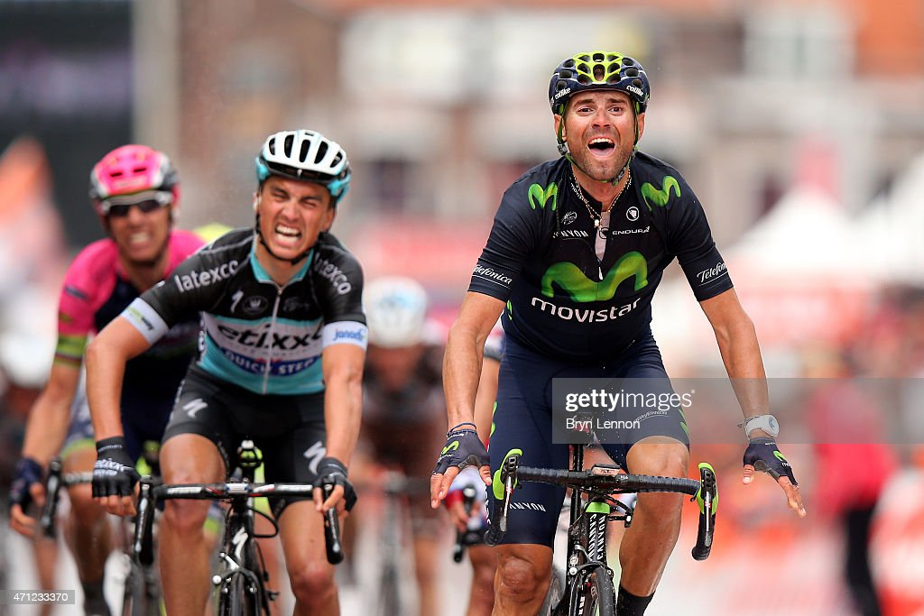 Alejandro Valverde of Spain and Movistar Team celebrates his victory as he crosses the finish line ahead of Julian Alaphilippe of France and Etixx...