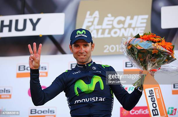Alejandro Valverde of Spain and Movistar Team celebrates on the podium after winning the 79th La Fleche Wallonne from Waremme to Huy on April 22 2015...