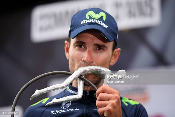 Alejandro Valverde of Spain and Movistar Team celebrates with the trophy following his victory during the 101st LiegeBastogneLiege cycle road race on...