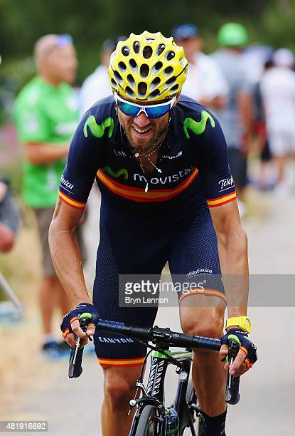 Alejandro Valverde of Spain and Movistar Team rides during the twentieth stage of the 2015 Tour de France a 1105 km stage between Modane Valfrejus...