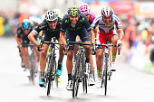 Alejandro Valverde of Spain and Movistar Team sprints for the finish line ahead of Julian Alaphilippe of France and Etixx Quick Step and Joaquim...