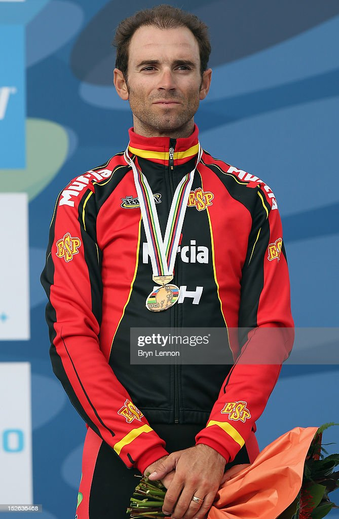 <a gi-track='captionPersonalityLinkClicked' href=/galleries/search?phrase=Alejandro+Valverde&family=editorial&specificpeople=193419 ng-click='$event.stopPropagation()'>Alejandro Valverde</a> of Spain finished 3rd in the Men's Elite Road Race on day eight of the UCI Road World Championships on September 23, 2012 in Valkenburg, Netherlands.
