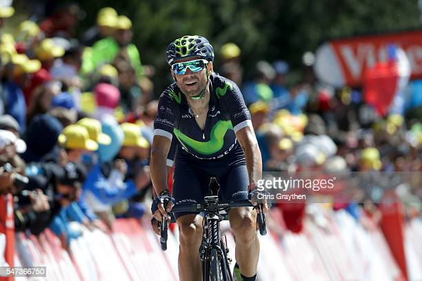 Alejandro Valverde of Spain riding for Movistar Team crosses the finish line during stage twelve a 178km stage from Monpellier to ChaletReynard near...