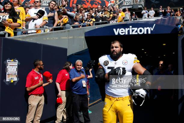 Alejandro Villanueva of the Pittsburgh Steelers stands by himself in the tunnel for the national anthem prior to the game against the Chicago Bears...