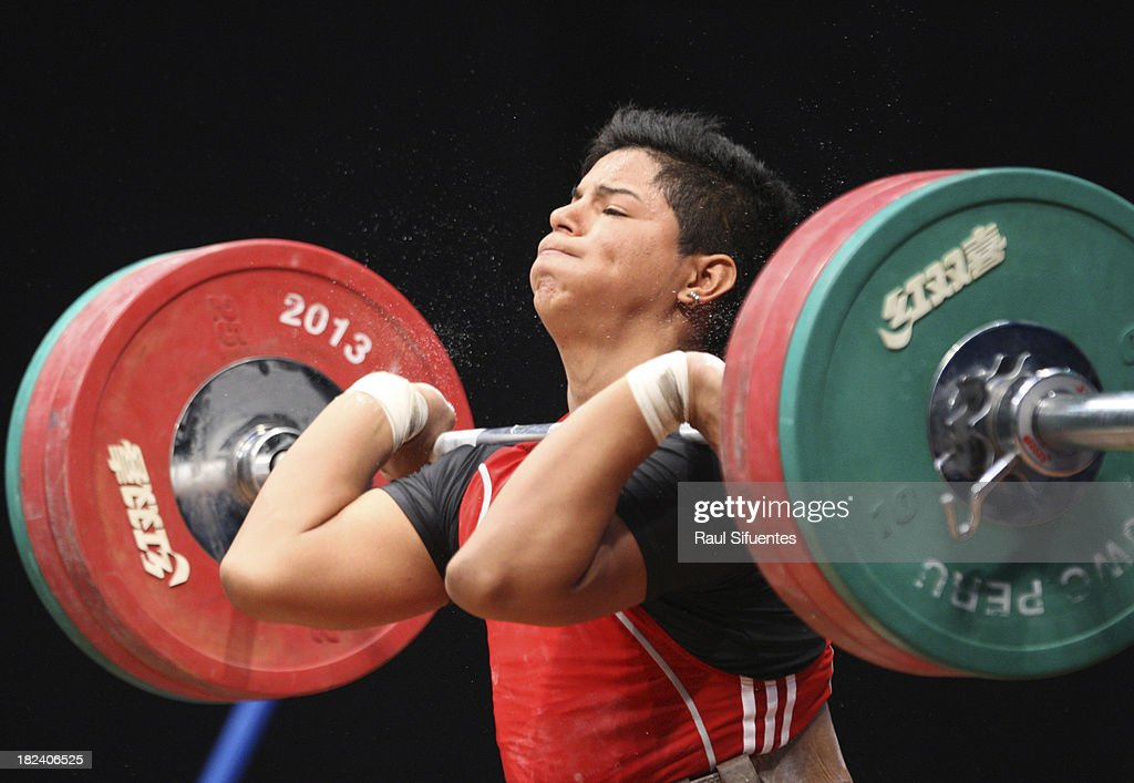 Alejandro Zapata Neyra of Peru competes in Men's Final as part of the I ODESUR South American Youth Games at Coliseo Miguel Grau on September 29, 2013 in Lima, Peru.