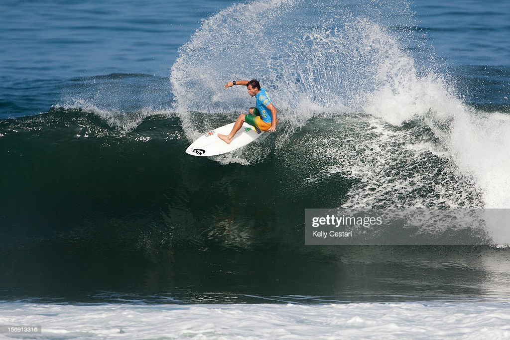 Alejo Muniz of Brasil placed 4th in final of the REEF Hawaiian Pro at Ali'i Beach Park on November 24, 2012 in Haleiwa, Hawaii.