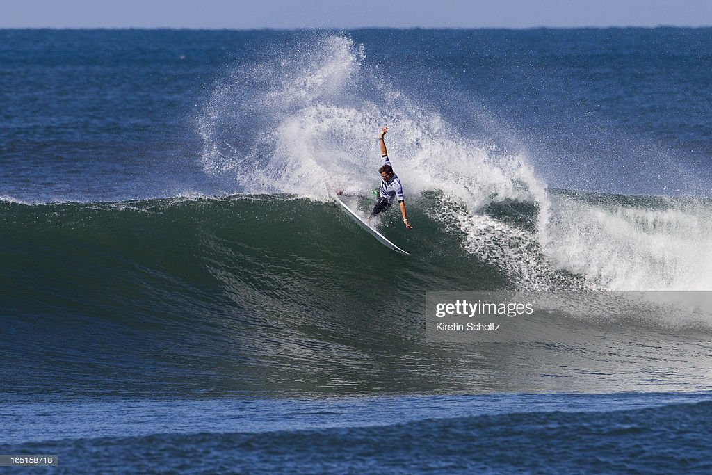 Alejo Muniz of Brasil surfs during round three of the Rip Curl Pro on April 1, 2013 in Bells Beach, Australia.