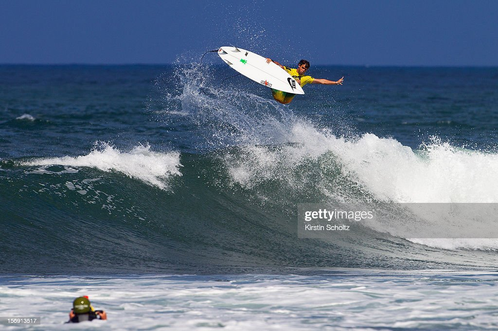 Alejo Muniz of Brasil surfs to a fourth place finish on November 24, 2012 in Haleiwa, Hawaii.