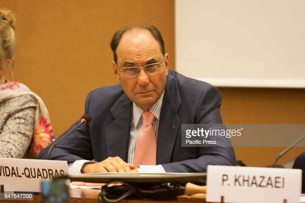 Alejo VidalQuadras President of the International Committee in Search of Justice Human Rights experts and personalities in a conference on September...