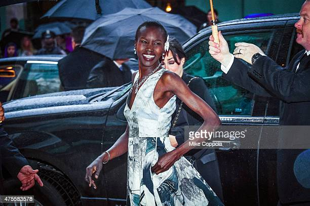 Alek Wek arrives at the 2015 CFDA Fashion Awards at Alice Tully Hall at Lincoln Center on June 1 2015 in New York City