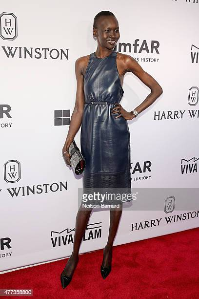Alek Wek attends the 2015 amfAR Inspiration Gala New York at Spring Studios on June 16 2015 in New York City