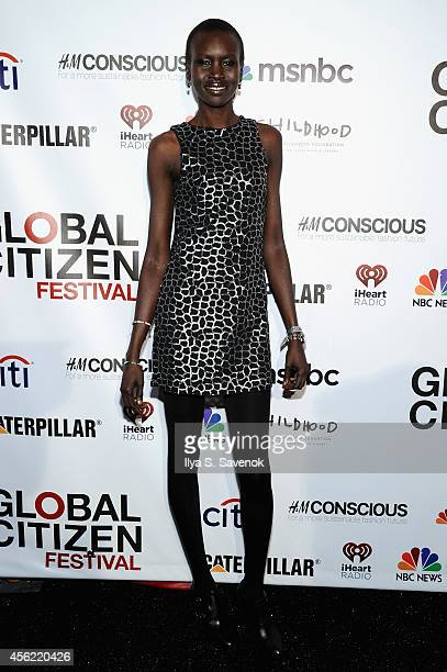 Alek Wek attends VIP Lounge at the 2014 Global Citizen Festival to end extreme poverty by 2030 in Central Park on September 27 2014 in New York City