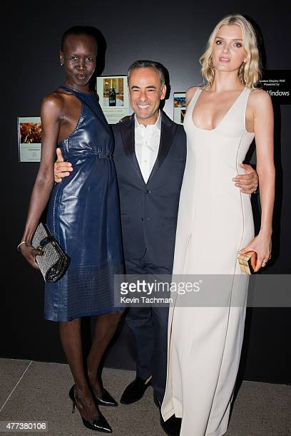 Alek Wek Francisco Costa and Lily Donaldson attend the 2015 amfAR Inspiration Gala New York at Spring Studios on June 16 2015 in New York City