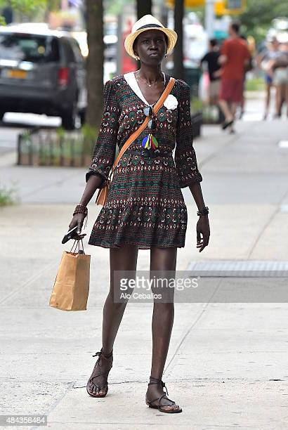 Alek Wek is seen in Soho on August 17 2015 in New York City