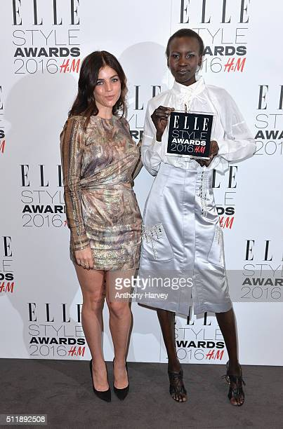 Alek Wek poses with the HM Conscious Award with Julia RestoinRoitfeld in the winners room at The Elle Style Awards 2016 on February 23 2016 in London...