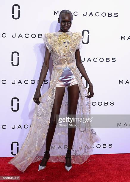 Alek Wek walks the runway at the Marc Jacobs Spring 2016 fashion show during New York Fashion Week at Ziegfeld Theater on September 17 2015 in New...