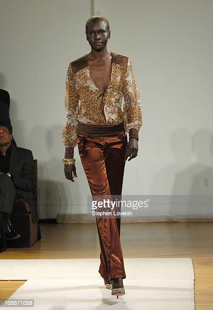 Alek Wek wearing Fall 2005 during Olympus Fashion Week Fall 2005 Kai Milla Front Row and Runway at The Newspace in New York City NY United States