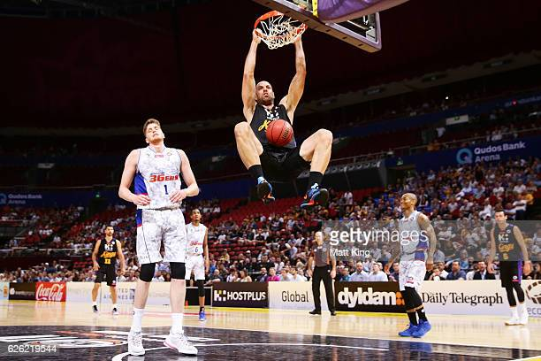 Aleks Maric of the Kings slam dunks during the round eight NBL match between the Sydney Kings and the Adelaide 36ers at Qudos Bank Arena on November...