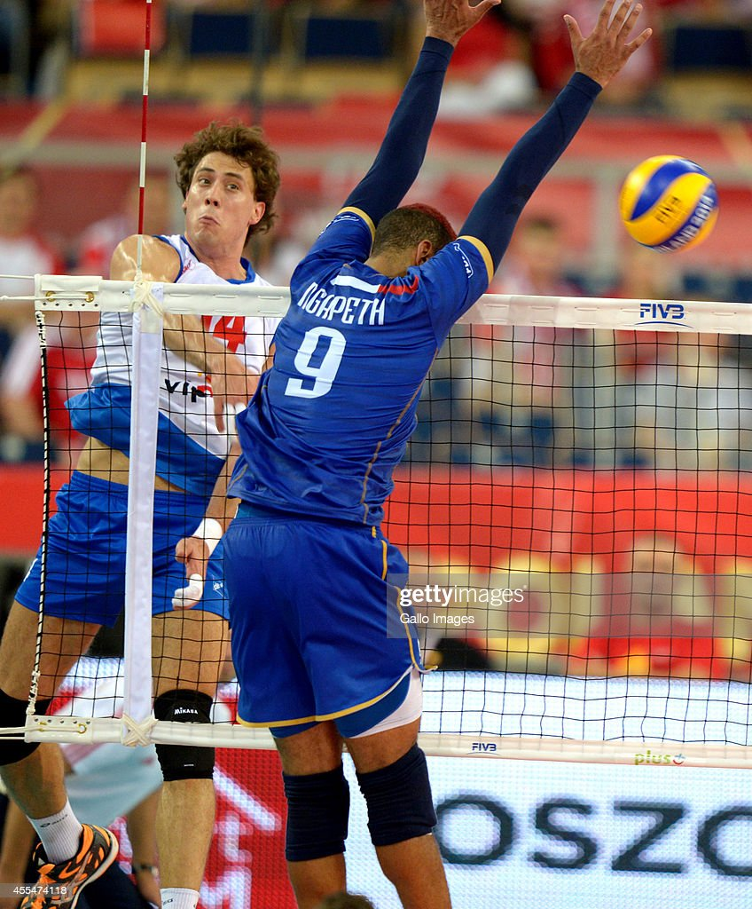 Aleksandar Atanasijevic of Serbia during Round 2 of the FIVB Volleyball Mens World Championship match between Serbia and France at Atlas Arena on September 13, 2014 in Lodz, Poland.