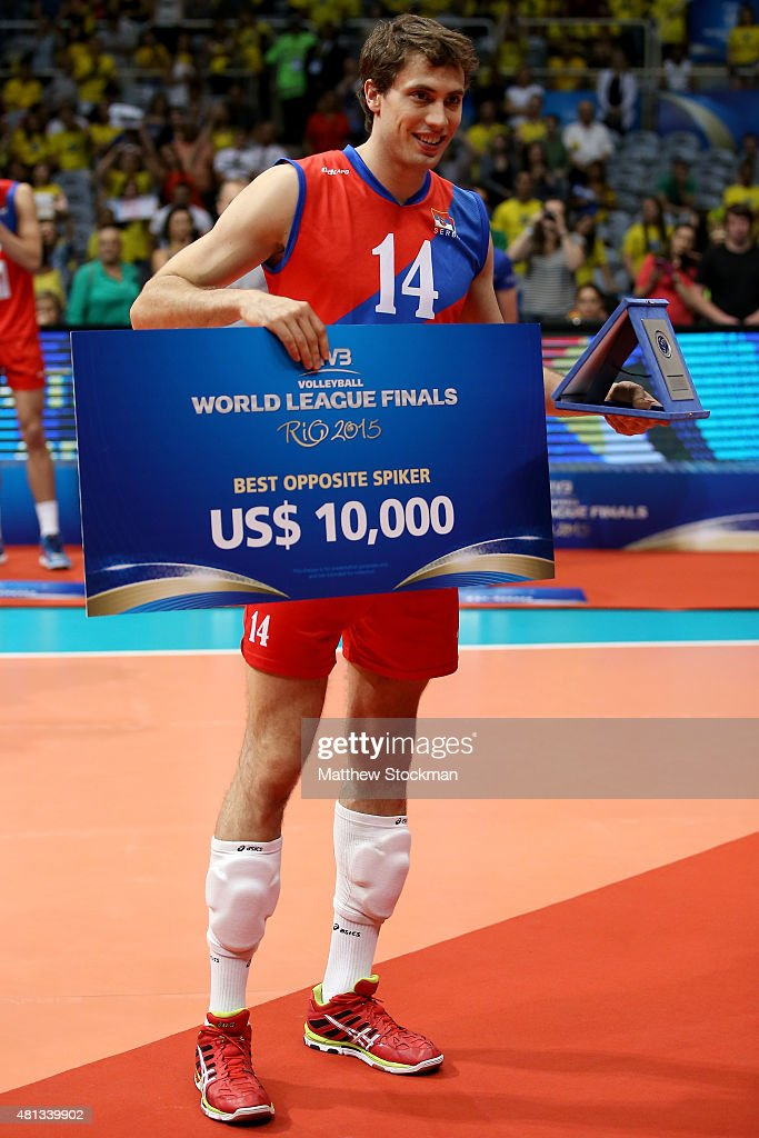 Aleksandar Atanasijevic of Serbia poses with the Opposite Spiker prize during the award ceremony after the FIVB World League Group 1 Finals gold medal match between Serbia and France at Maracanazinho on July 19, 2015 in Rio de Janeiro, Brazil. Maracanazinho will host the volleyball competition during the Rio 2016 Olympic Games.