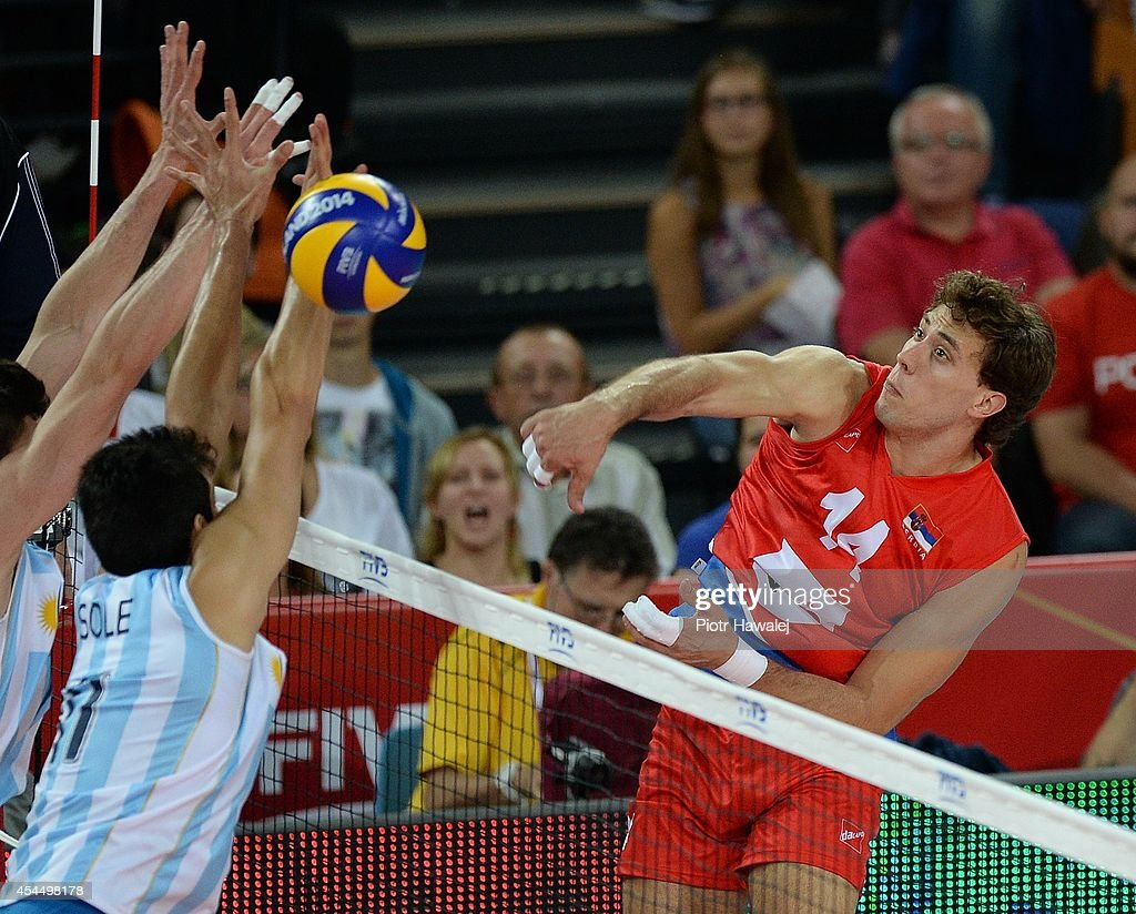 Aleksandar Atanasijevic of Serbia spikes the ball during the FIVB World Championships match between Serbia and Argentina on September 2, 2014 in Wroclaw, Poland.