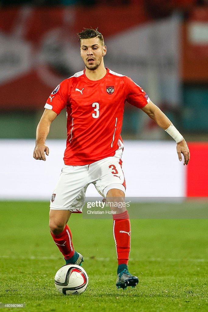 Aleksandar Dragovic of Austria controls the ball during the UEFA EURO 2016 Qualifier between Austria and Liechtenstein at Ernst Happel Stadion on October 12, 2015 in Vienna, Austria.
