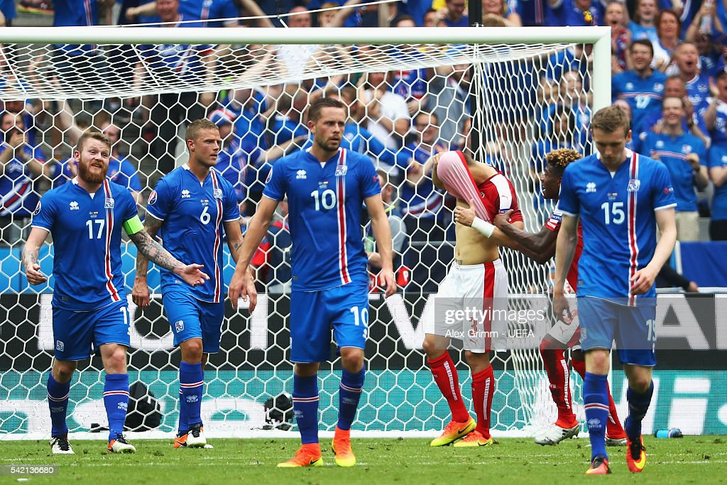 Aleksandar Dragovic of Austria hides his face after missing a penalty during the UEFA EURO 2016 Group F match between Iceland and Austria at Stade de France on June 22, 2016 in Paris, France.