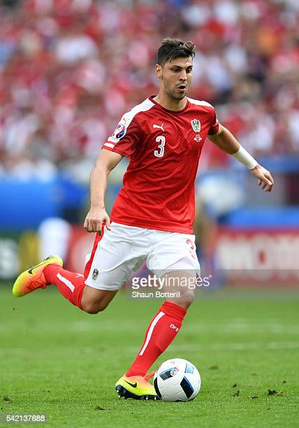 Aleksandar Dragovic of Austria in action during the UEFA EURO 2016 Group F match between Iceland and Austria at Stade de France on June 22 2016 in...