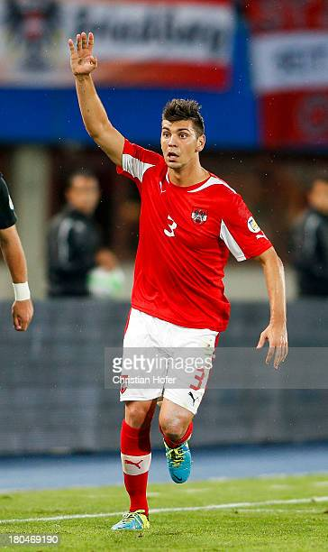Aleksandar Dragovic of Austria reacts during the FIFA World Cup 2014 Group C qualification match between Austria and the Republic of Ireland at the...