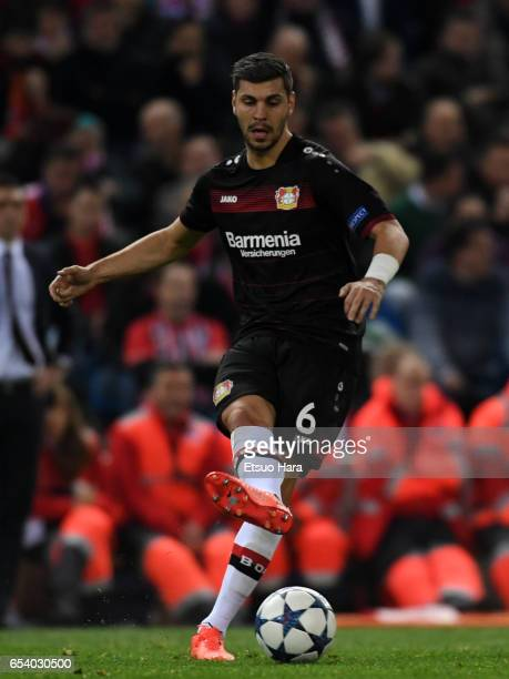 Aleksandar Dragovic of Bayer Leverrkusen in actionduring the UEFA Champions League Round of 16 second leg match between Club Atletico de Madrid and...